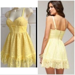 BEBE Yellow Eyelet Lace Fit & Flare Mini Dress XXS
